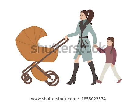 Silhouette of a lady pushing a pram Stock photo © Vg