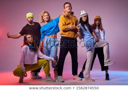 Dansen dynamica foto actief vrouw oranje Stockfoto © Novic