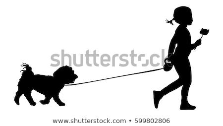 Silhouette fille chien marche femme santé Photo stock © Vg