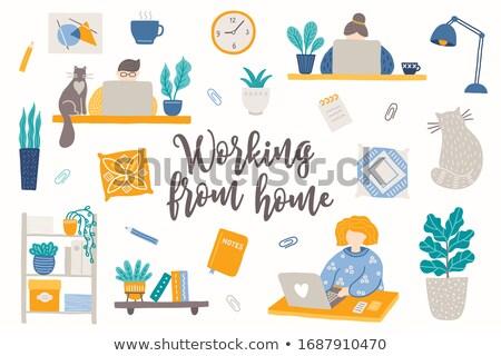 Free hand cat clock illustration Stock photo © aliaksandra