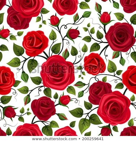 Stock photo: Seamless Background With Red Roses Vector