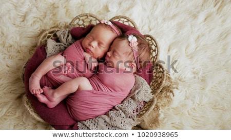 Menina peludo cobertor cópia espaço acima cabelo Foto stock © przemekklos
