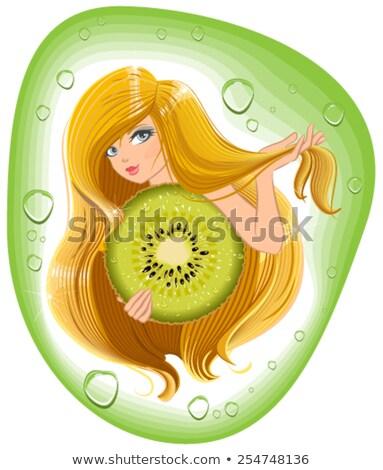 Kız uzun saçlı kivi meyve şablon etiket Stok fotoğraf © orensila