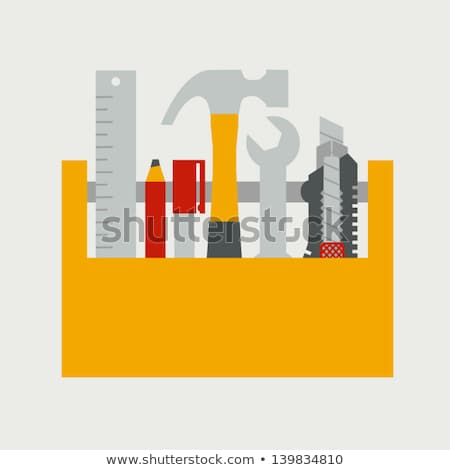 Stock photo: Service wooden box with construction tools