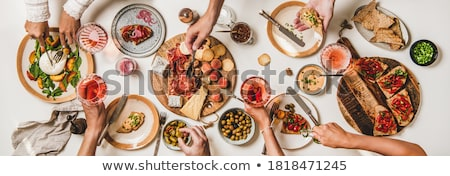 Salad with meat,  tomatoes and olives Stock photo © ironstealth