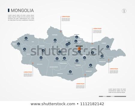orange button with the image maps of mongolia stock photo © mayboro