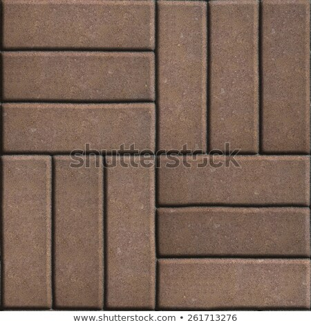 brown paving slabs of rectangles laid out on three pieces perpendicular to each other stock photo © tashatuvango