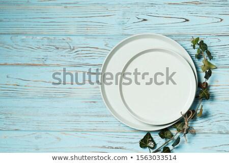 üres tányérok tálak kék fából készült felső Stock fotó © karandaev