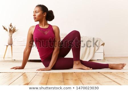 gülen · genç · kadın · egzersiz · yoga · mat · spor · salonu · mutlu - stok fotoğraf © elnur