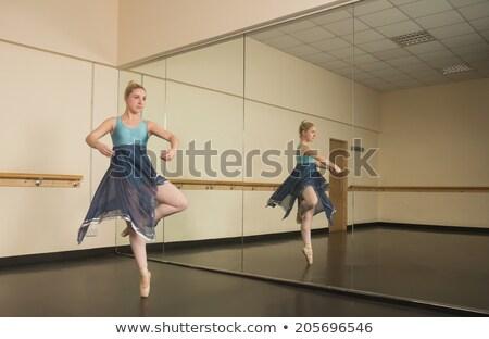 zarif · balerin · ayakta · bale · stüdyo · kadın - stok fotoğraf © wavebreak_media