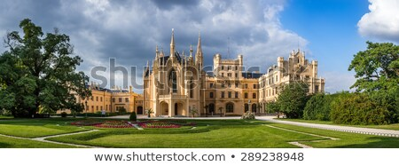 lednice castle at sunset front view stock photo © kayco