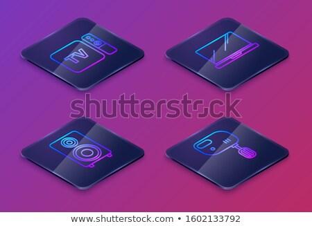 Zdjęcia stock: Multimedialnych · placu · wektora · niebieski · ikona · projektu