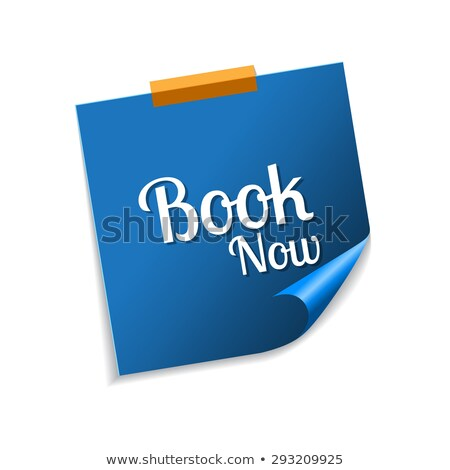 book now blue sticky notes vector icon design stock photo © rizwanali3d