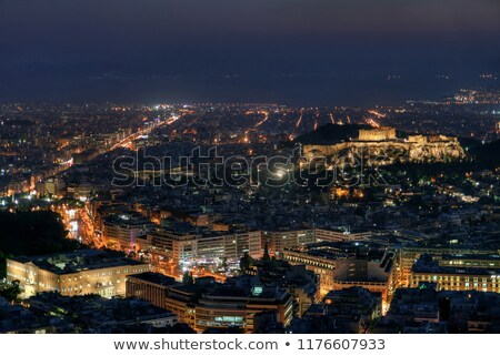 overview of athens in the night stock photo © andreykr