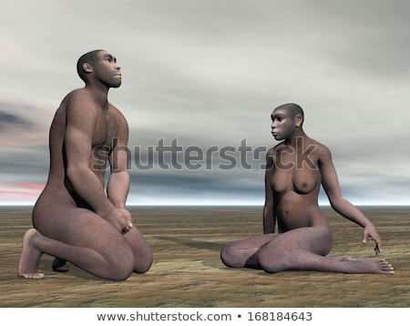 Female homo erectus sitting - 3D render Stock photo © Elenarts