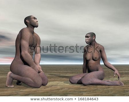 female homo erectus sitting   3d render stock photo © elenarts