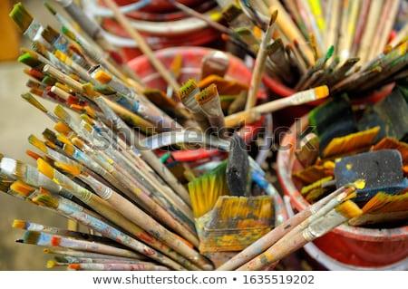 gebruikt · penseel · een · oude · verweerde · oppervlak - stockfoto © olandsfokus