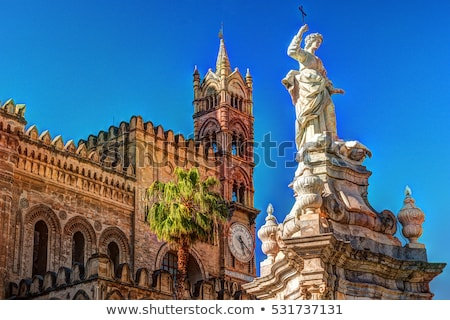 Katedry sycylia Włochy słynny kościoła drzewo Zdjęcia stock © ankarb