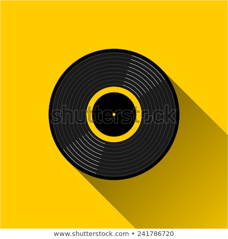 flat music vinyl record disc circle icon with long shadow stock photo © anna_leni