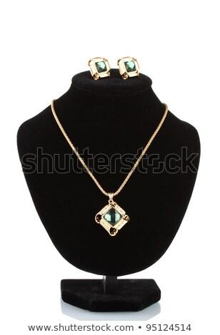 beautiful jewellery necklace with green stone on black mannequin Stock photo © tetkoren