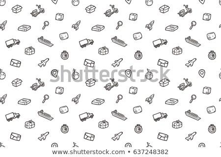 ładunku kontenerowiec ikona kredy Zdjęcia stock © RAStudio