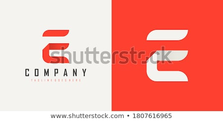Stock photo: Abstract vector logo red ribbon in the shape of the letter E