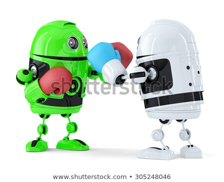Toy robots fighting. Isolated. Contains clipping path Stock photo © Kirill_M