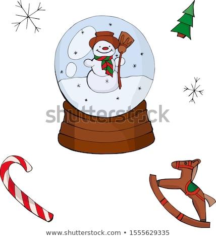 hóbortos · rajz · karácsony · golyók · mikulás · hóember - stock fotó © adrenalina