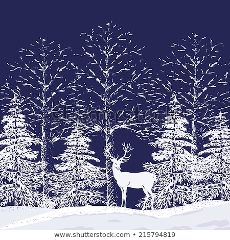 fir tree forest with reindeer vector stock photo © beaubelle