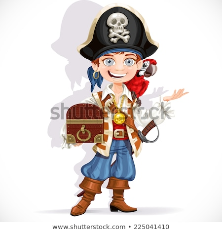 Young pirate holding sword isolated on white Stock photo © Elnur