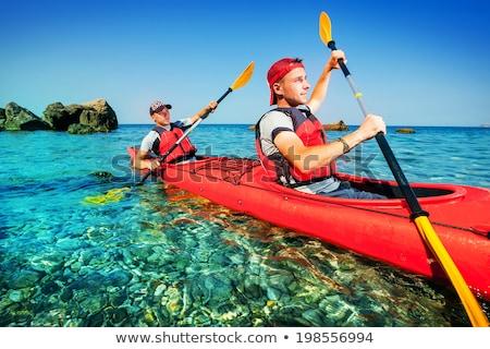 Két férfi kettő férfi csónak evezés nyugalmas Stock fotó © smuki