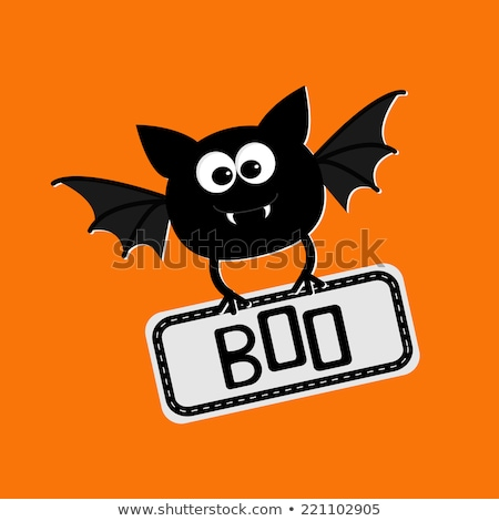 happy halloween card background flat design vector illustration kids text stock photo © rommeo79