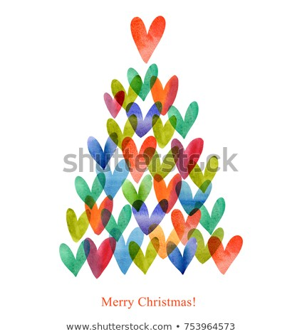 Valentine card with tree and hearts isolated Stock photo © Escander81