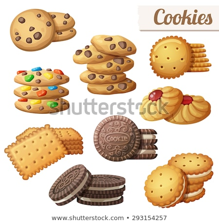 vector set of chocolate chip cookies with nuts stock photo © freesoulproduction