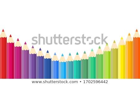 Renkli boya kalemleri örnek ayarlamak ahşap beyaz Stok fotoğraf © make