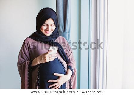 terhes · arab · nő · fekszik · friss · zöld · fű - stock fotó © zurijeta