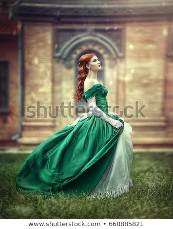 Mooie vrouw Rood lang jurk geïsoleerd witte Stockfoto © Elnur