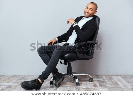 深刻 ビジネスマン 座って 事務椅子 黒 手 ストックフォト © deandrobot