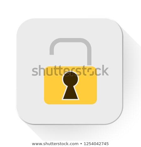 Foto d'archivio: Open · lock · isolato · bianco · abstract · sfondo