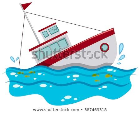 Vissersboot zinken oceaan illustratie water zee Stockfoto © bluering