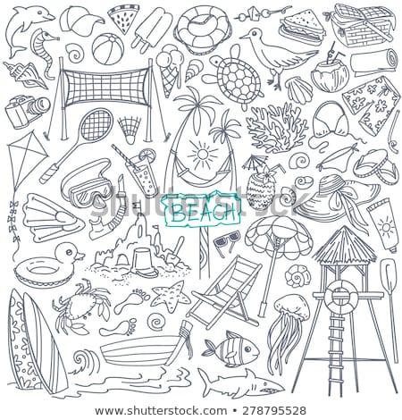 Voleybol karikatür karalama ikon plaj parti Stok fotoğraf © vector1st