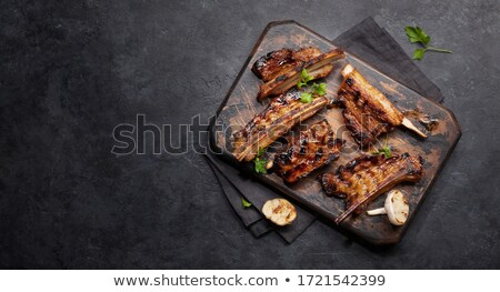 Crujiente rebanadas cerdo carne nadie primer plano Foto stock © Digifoodstock