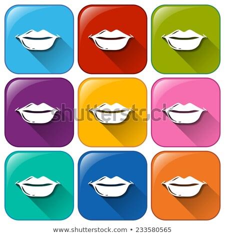 dudaklar · yalıtılmış · pembe · öpücük · beyaz · seksi - stok fotoğraf © bluering