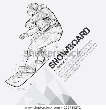 Férfi snowboard rajz ikon vektor izolált Stock fotó © RAStudio