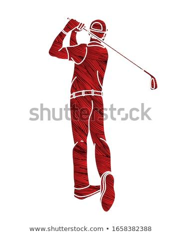 гольфист человека Cartoon стороны гольф спортивных Сток-фото © doddis