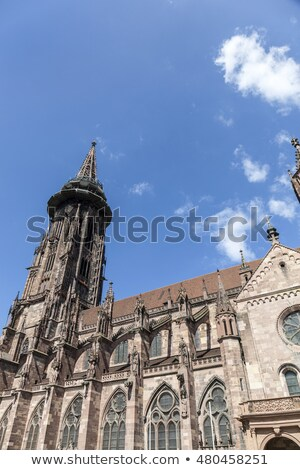 Main tower of world famous Freiburg Muenster cathedral, a mediev Stock photo © meinzahn