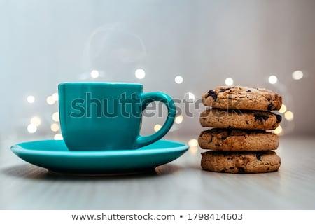 Csokoládé keksz torta reggeli desszert Stock fotó © M-studio