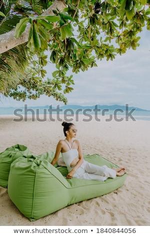 portret · mooie · jonge · vrouw · vergadering · ligstoel · buitenshuis - stockfoto © deandrobot