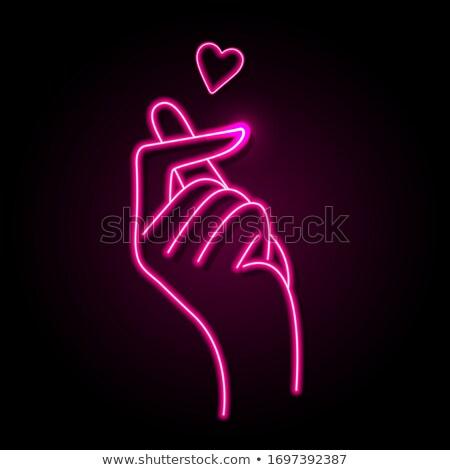 szív · ujjak · felirat · szeretet · kezek · kézmozdulat - stock fotó © kali