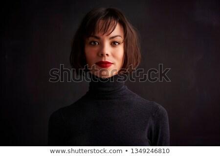 portre · kız · kırmızı · kazak · genç - stok fotoğraf © deandrobot